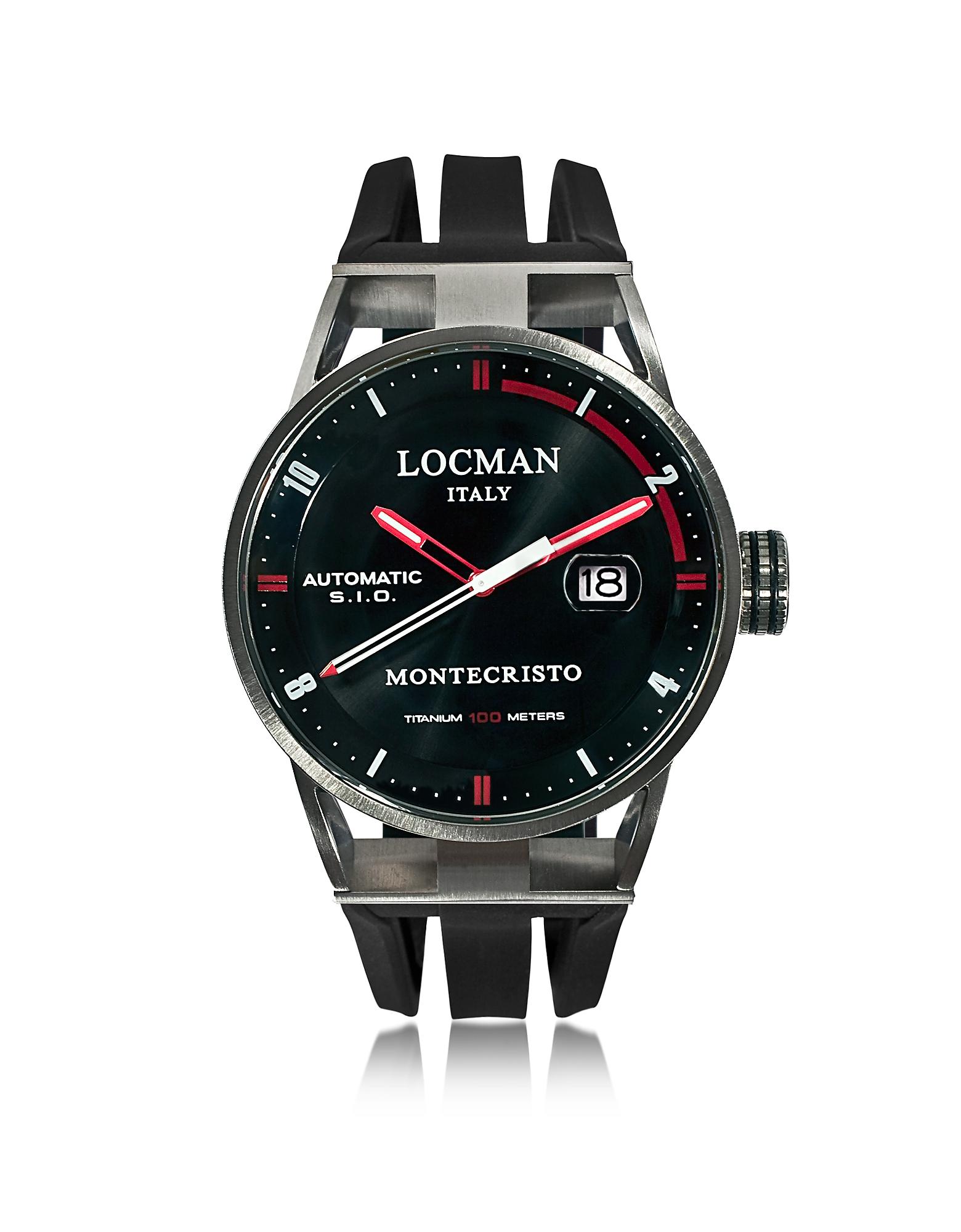 Locman Men's Watches, Montecristo Stainless Steel & Titanium Automatic Men's Watch w/Silicone Strap