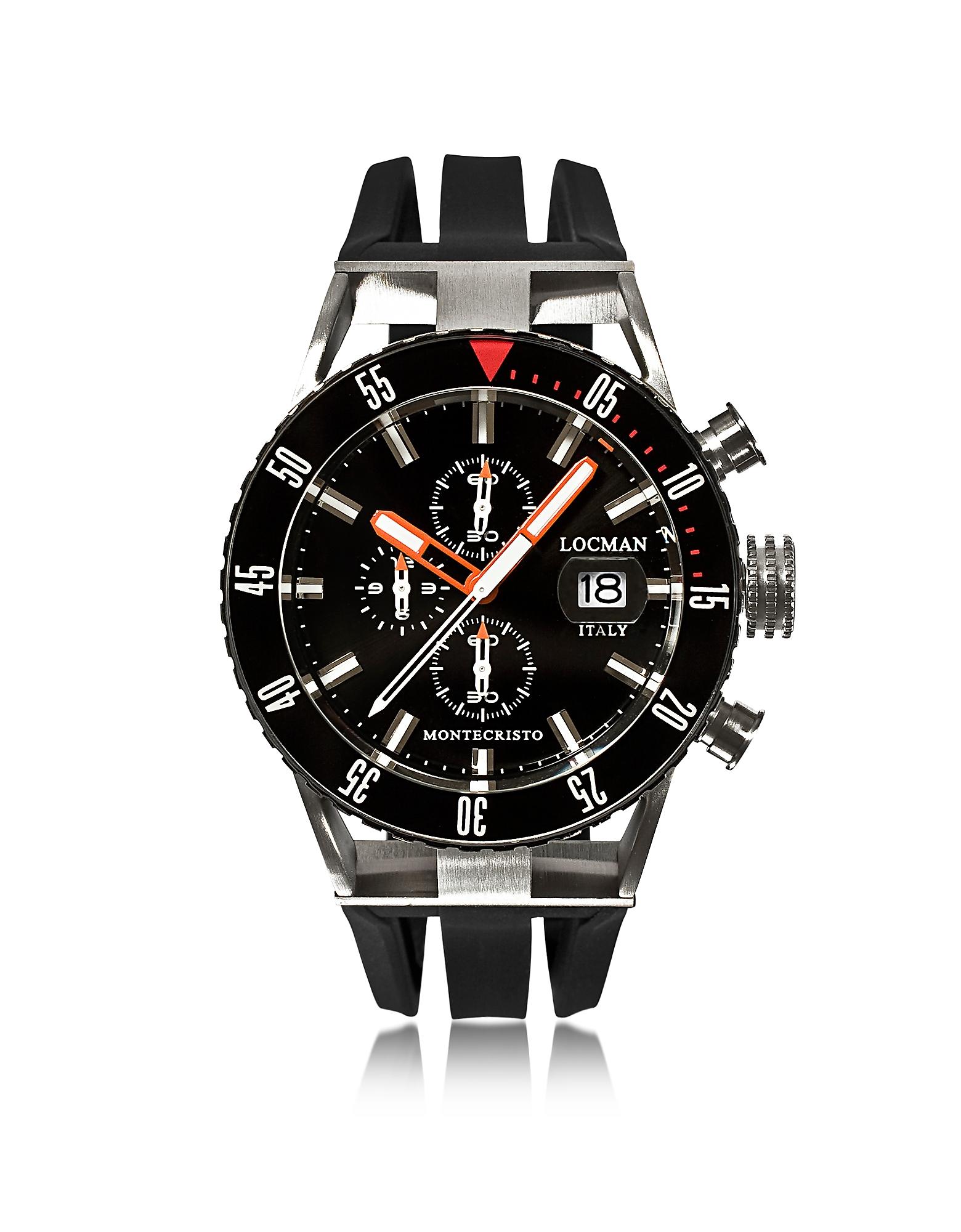 Montecristo - Черные Мужские Часы Хронограф из Нержавеющей Стали и Титана