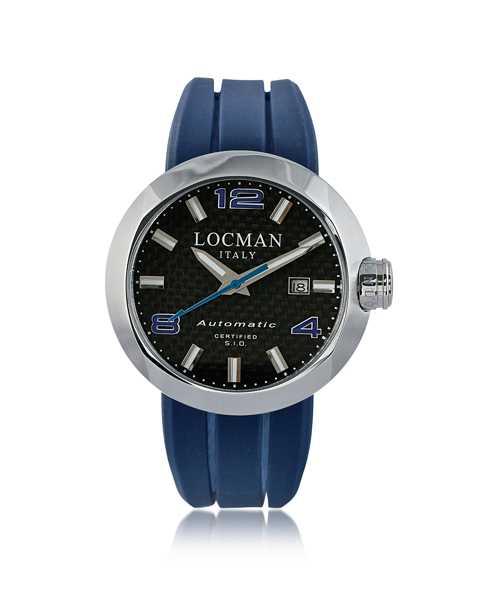 Locman Men's Watches, Change Stainless Steel Round Case Automatic Men's Watch w/ Silicone & Leather