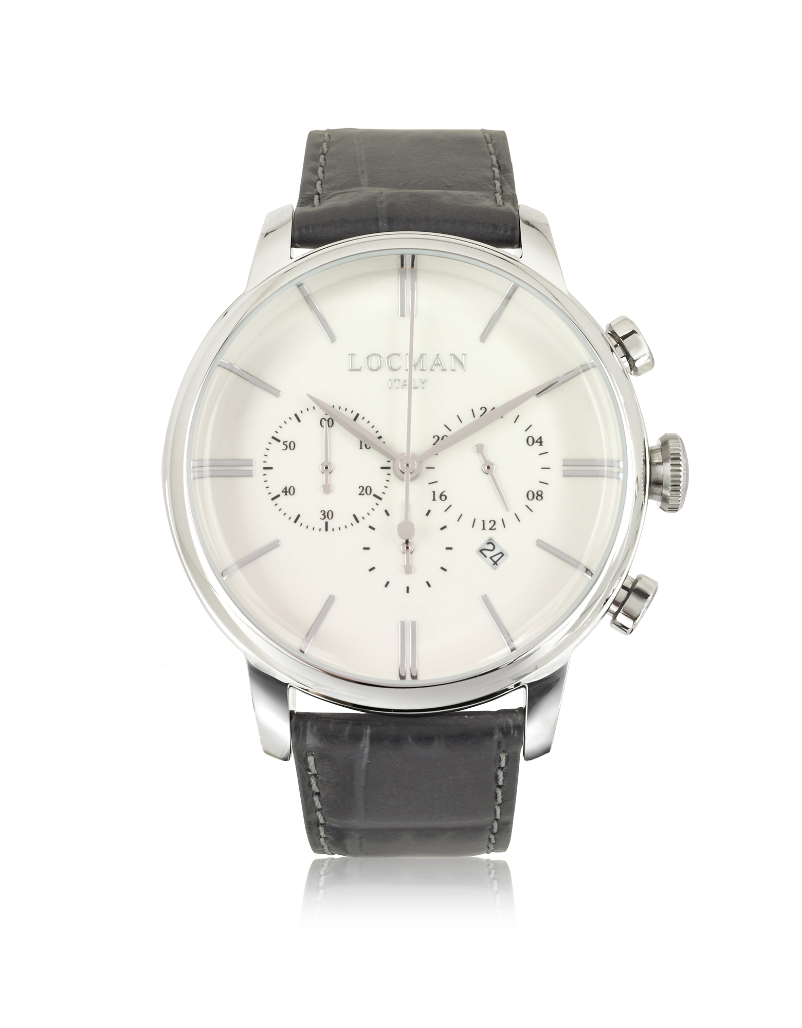 1960 Orologio con Cronografo in Acciaio e Pelle Cocco Grigio