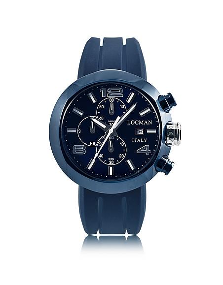 Locman Tondo - Montre Chronographe Homme en Acier Inoxydable PVD Bleu avec Trois Bracelets Interchangeables en Cuir Imprimé Croco et Silicone