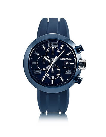 Locman - Tondo Blue PVD Stainless Steel Chronograph Men's Watch w/Leather and Silicone Band Set