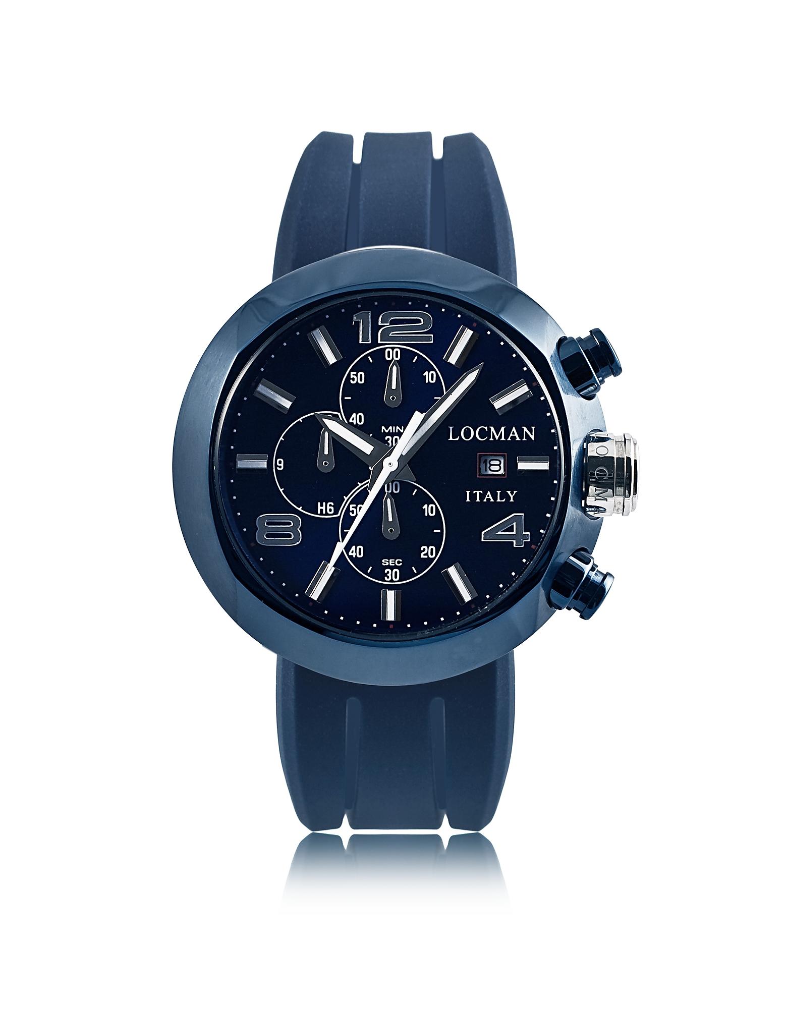 Фото Tondo - Синие Мужские Часы Хронограф с Кожаным и Силиконовым Ремешками. Купить с доставкой