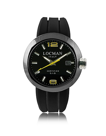 Locman - One Black PVD Stainless Steel Chronograph Men's Watch w/Leather and Silicone Band Set