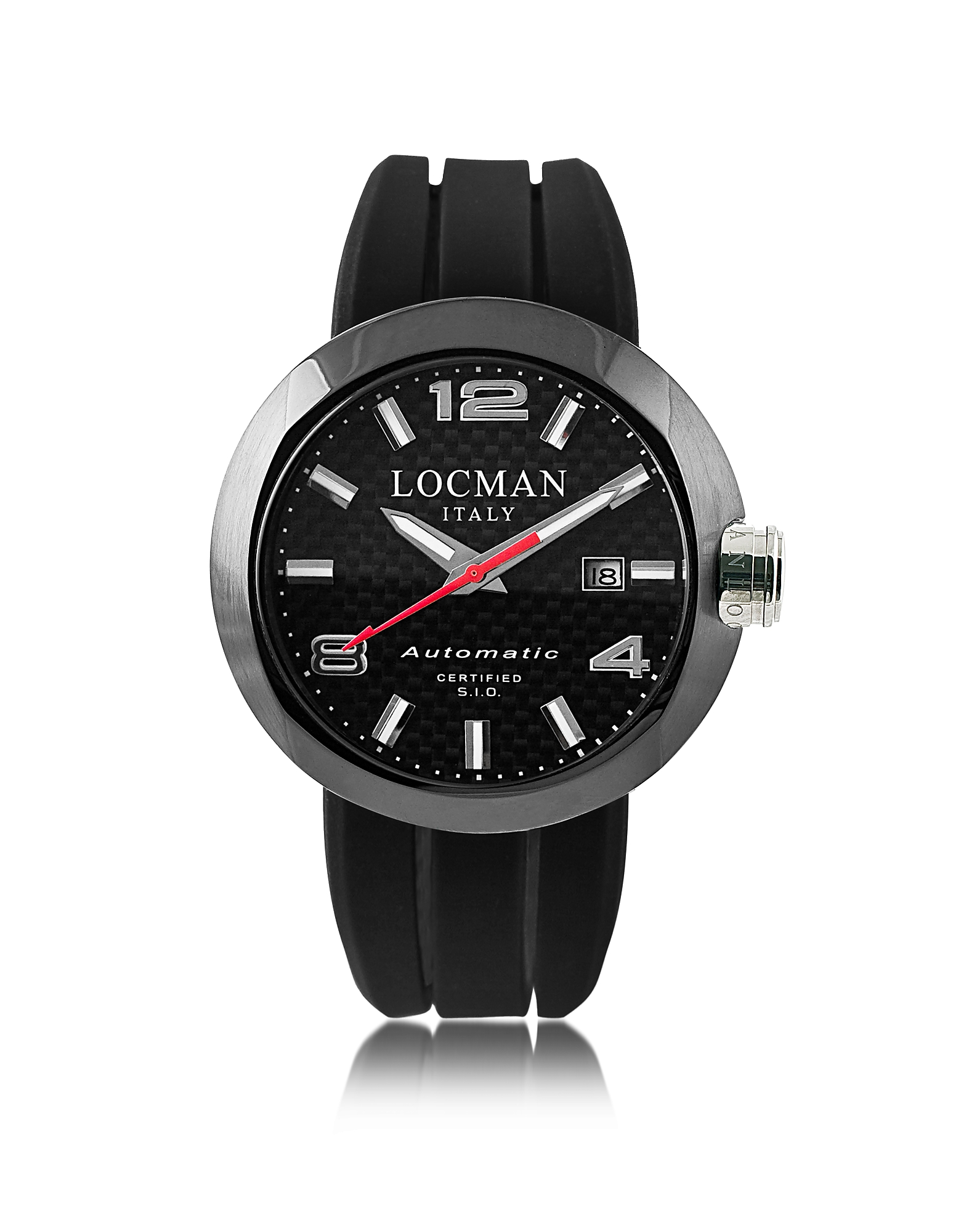 Locman Men's Watches, One Automatico Black PVD Stainless Steel Men's Watch w/Leather and Silicone Ba
