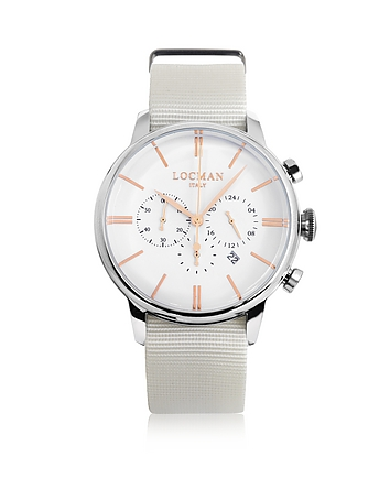 Locman - 1960 Stainless Steel Men's Chronograph Watch w/White Canvas Strap