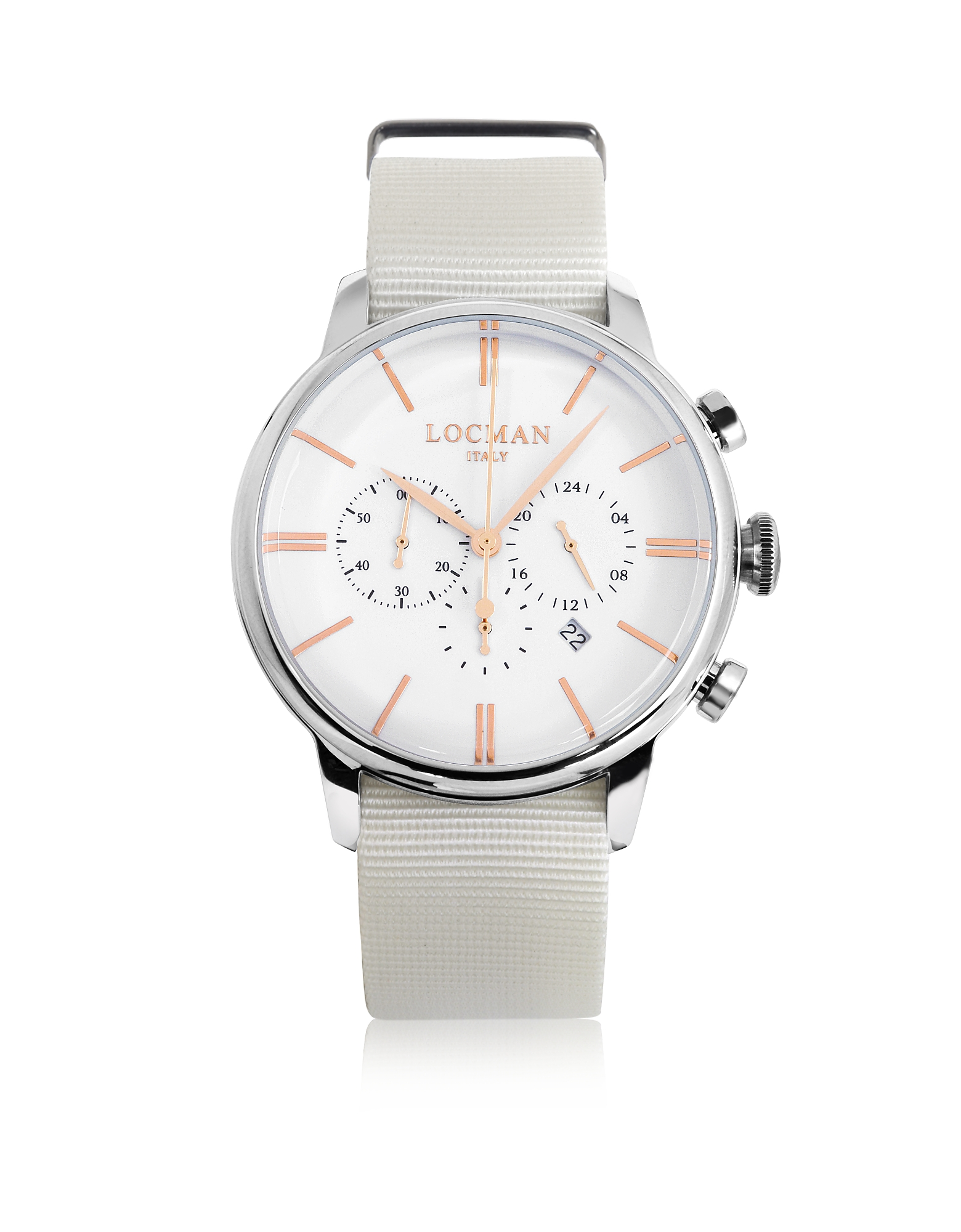 1960 - Мужские Часы Хронограф из Нержавеющей Стали с Белым Ремешком из Ткани