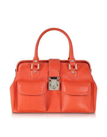 Deep Orange Leather Doctor Bag