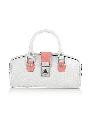 Ivory Croco-embossed Mini Doctor Bag