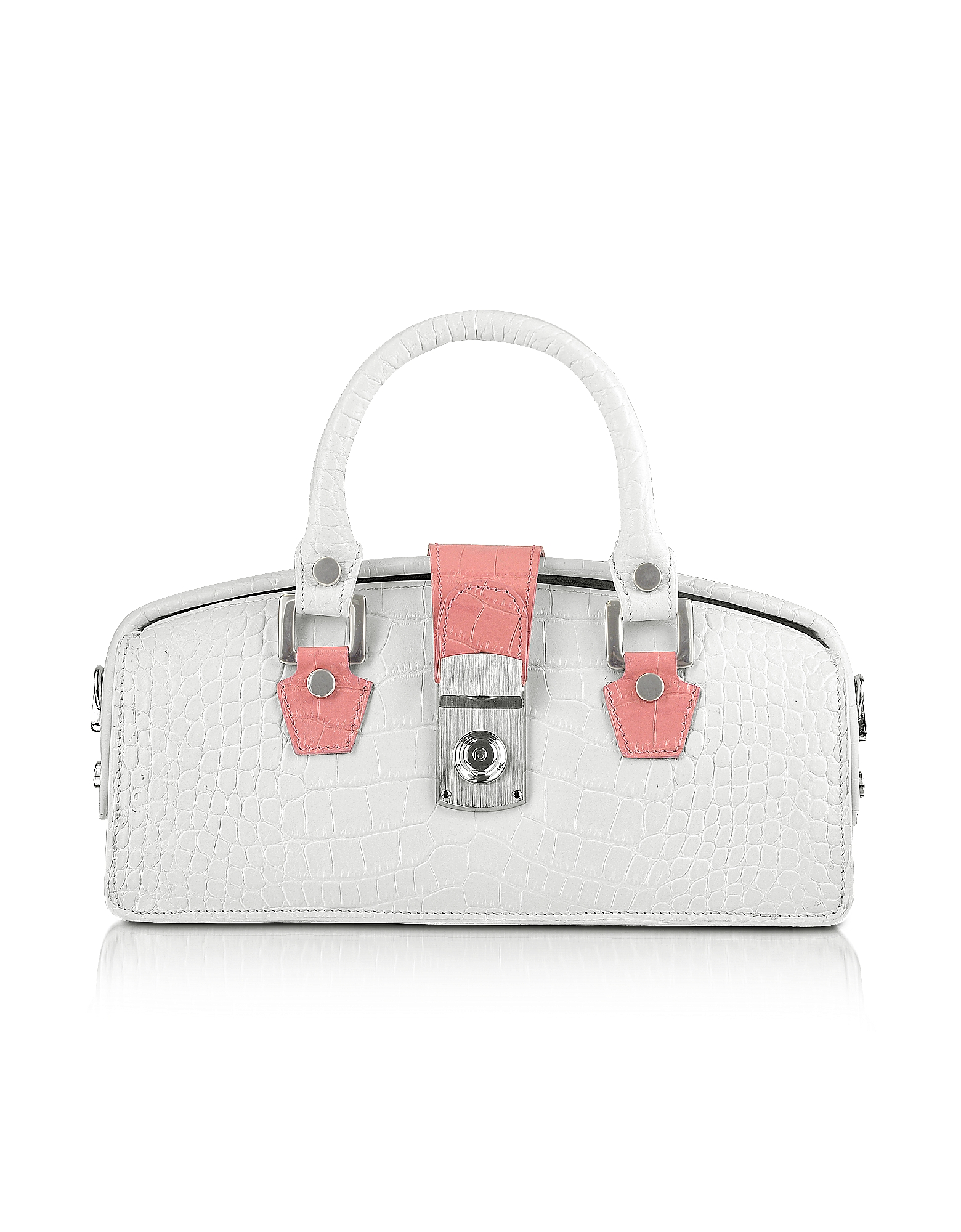 L.A.P.A. Handbags, Ivory Croco-embossed Mini Doctor Bag