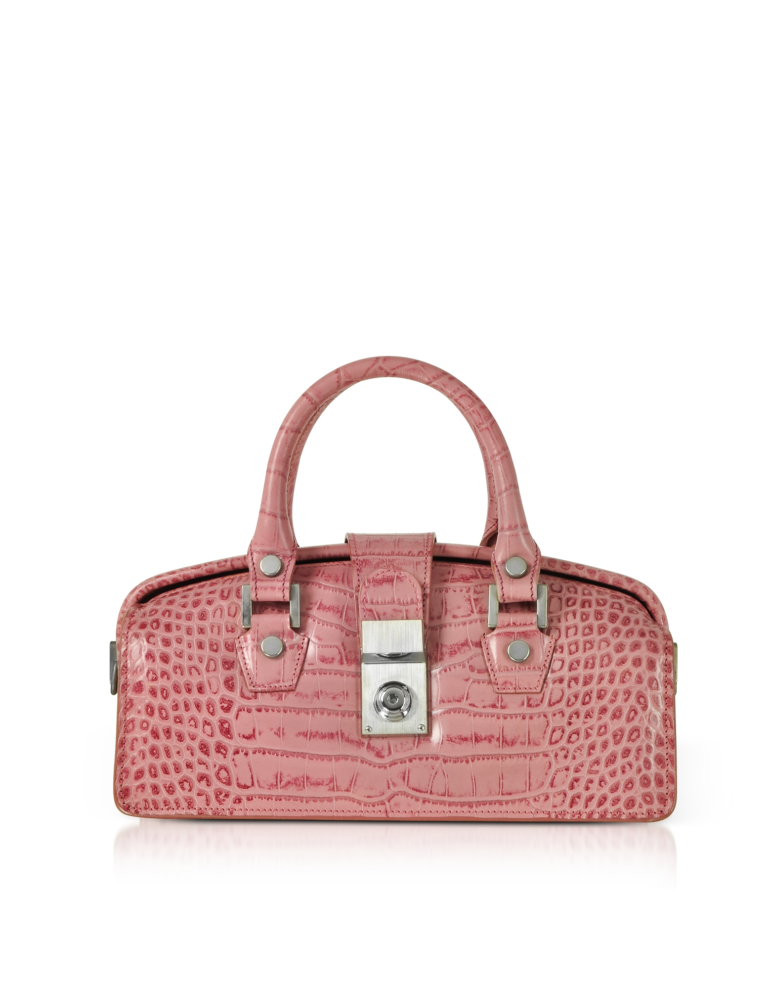Image of L.A.P.A. Designer Handbags, Croco-embossed Mini Doctor Style Bag