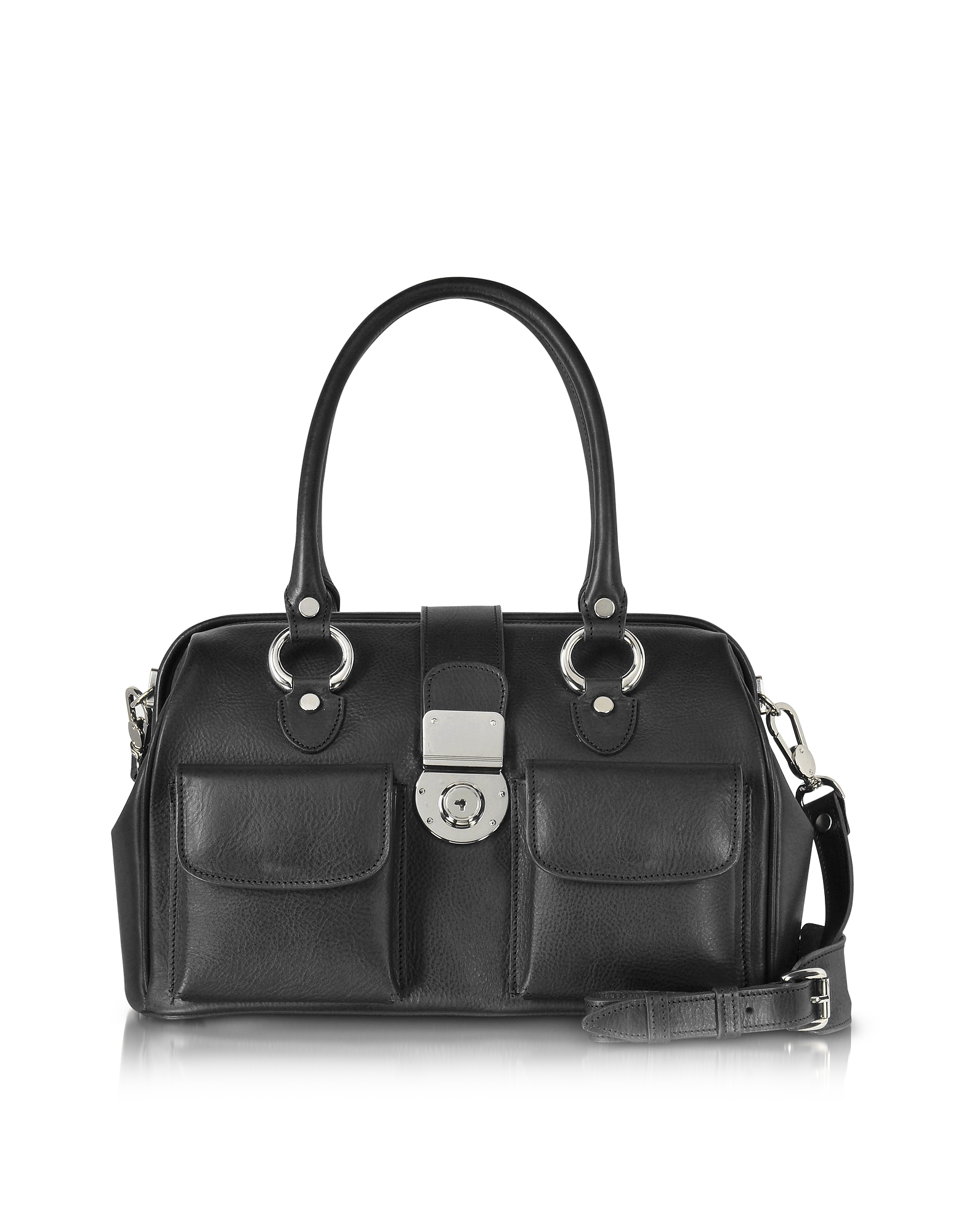 Front Pocket Calf Leather Doctor-style Handbag