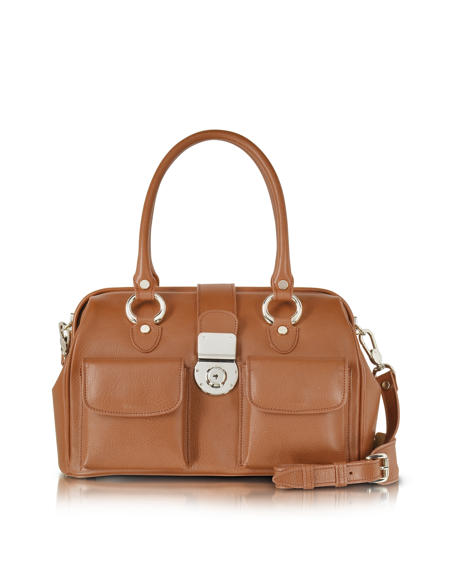 Image of L.A.P.A. Designer Handbags, Front Pocket Calf Leather Doctor-style Handbag