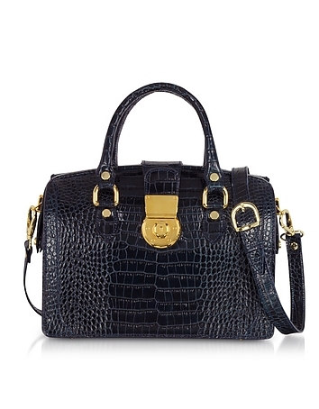 Blue Croco-stamped Italian Leather Doctor Bag