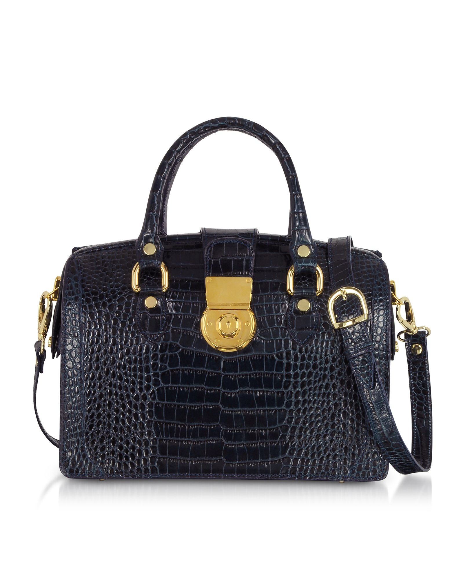 Blue Croco-stamped Italian Leather Doctor-style Handbag
