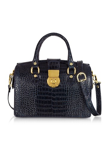 L.A.P.A. Blue Croco-stamped Italian Leather Doctor-style Handbag