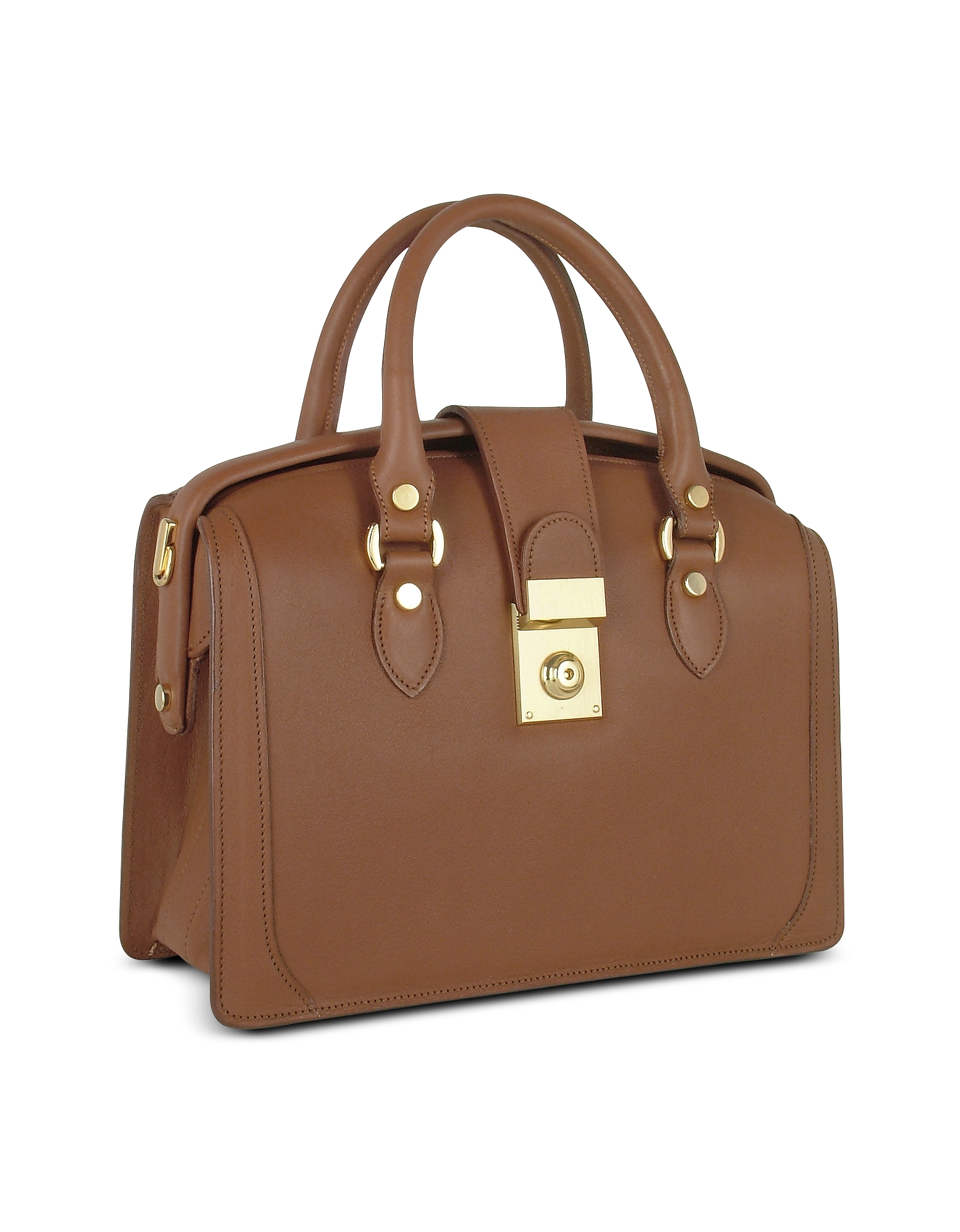 Brown Italian Leather Doctor-style Handbag