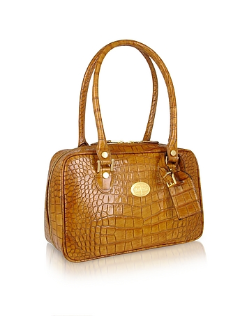 L.A.P.A. - Camel Croco Stamped Italian Leather Shoulder Bag