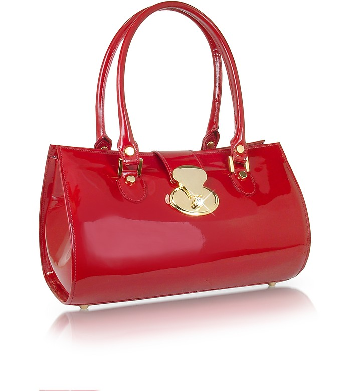 Crystal Buckle Patent Leather Barrel Bag - L.A.P.A.