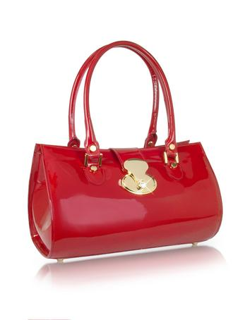 Crystal Buckle Patent Leather Barrel Bag