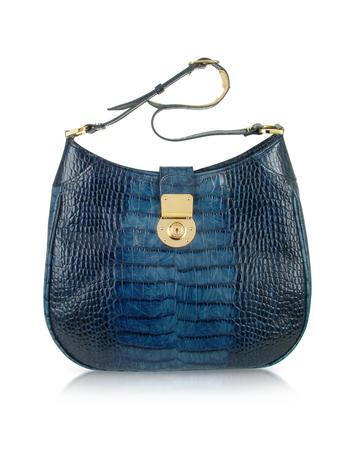 Indigo Blue Croco Stamped Italian Leather Hobo Bag