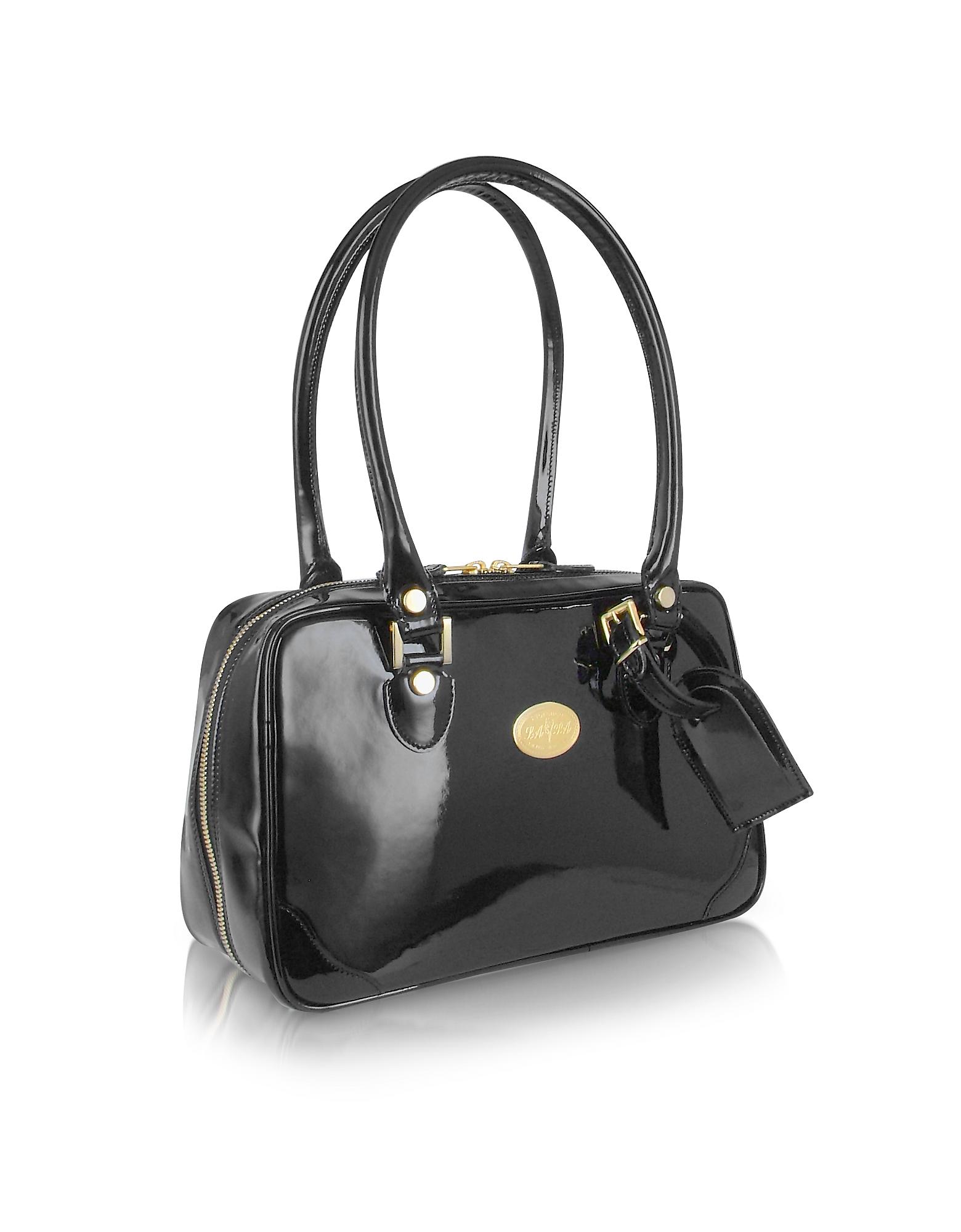 L.A.P.A. Handbags, Black Italian Patent Leather Shoulder Bag