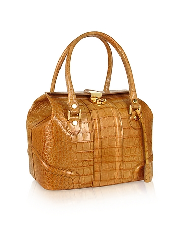 Sand Croco Stamped Italian Leather Tote Bag