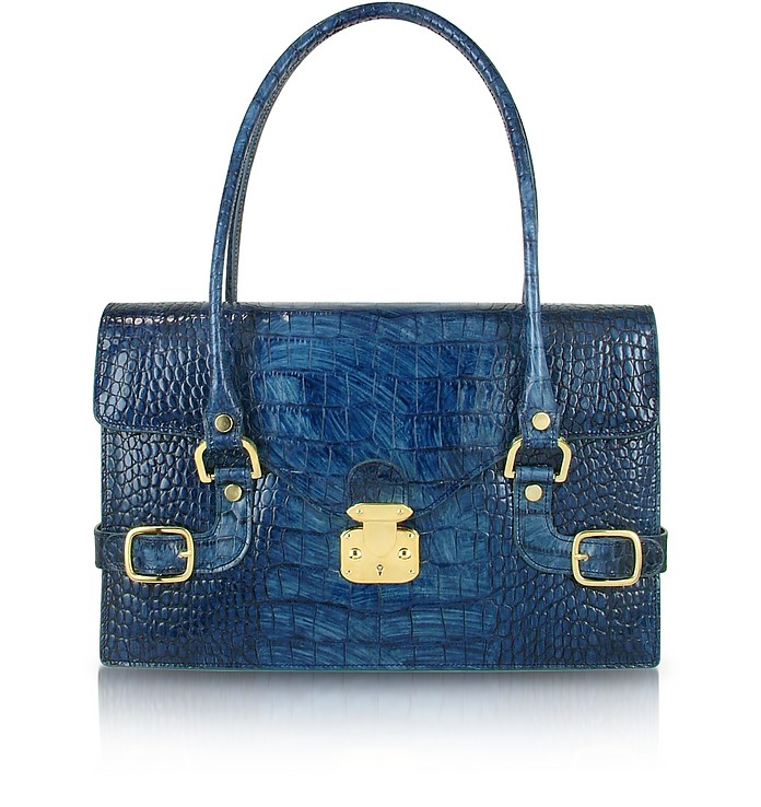 Indigo Blue Croco Stamped Italian Leather Shoulder Bag - L.A.P.A.
