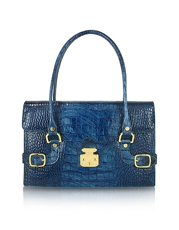 Indigo Blue Croco Stamped Italian Leather Shoulder Bag