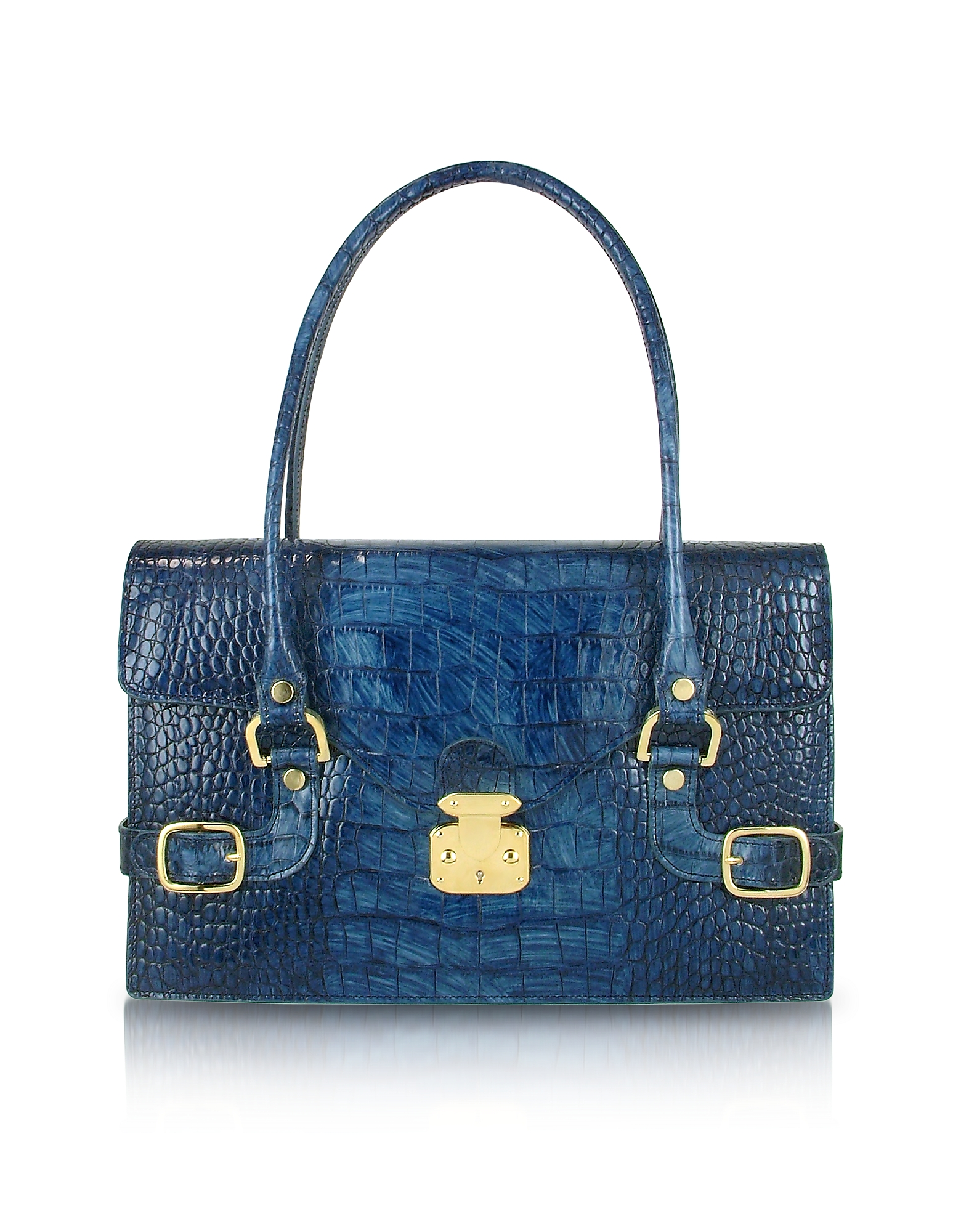 L.A.P.A. Handbags, Indigo Blue Croco Stamped Italian Leather Shoulder Bag