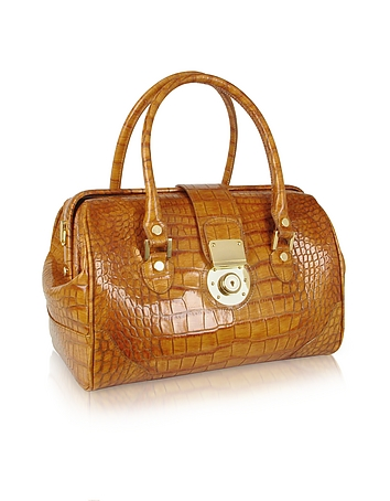 Camel Croco Stamped Leather Doctor Bag