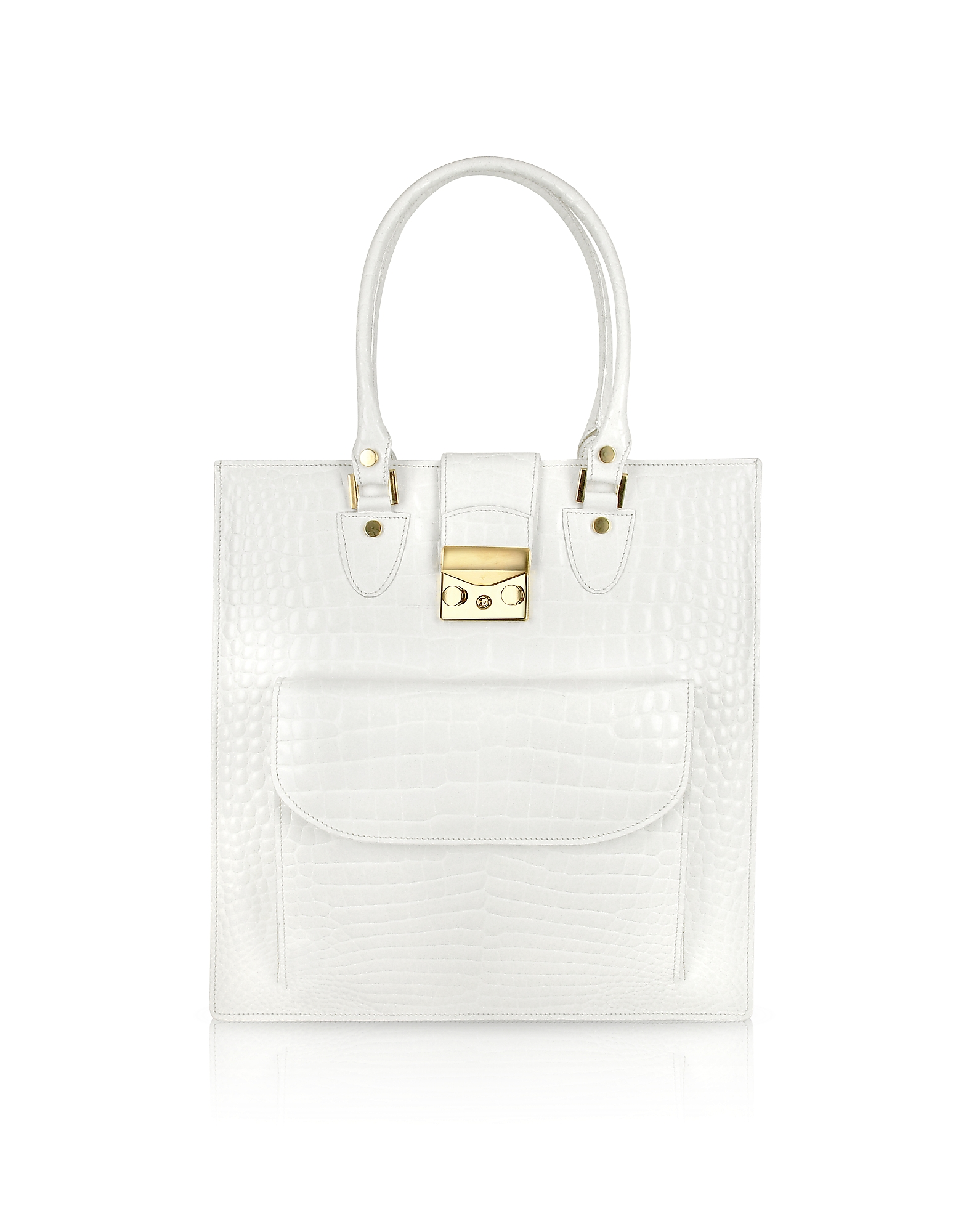 L.A.P.A. Handbags, White Croco Stamped Leather Tote Bag