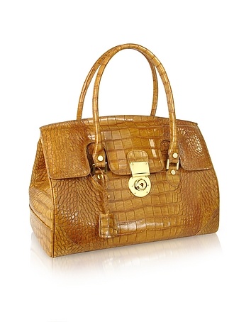 L.A.P.A. - Camel Croco Stamped Genuine Leather Satchel Bag