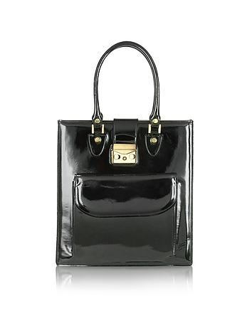L.A.P.A. - Black Patent Leather Tote Bag