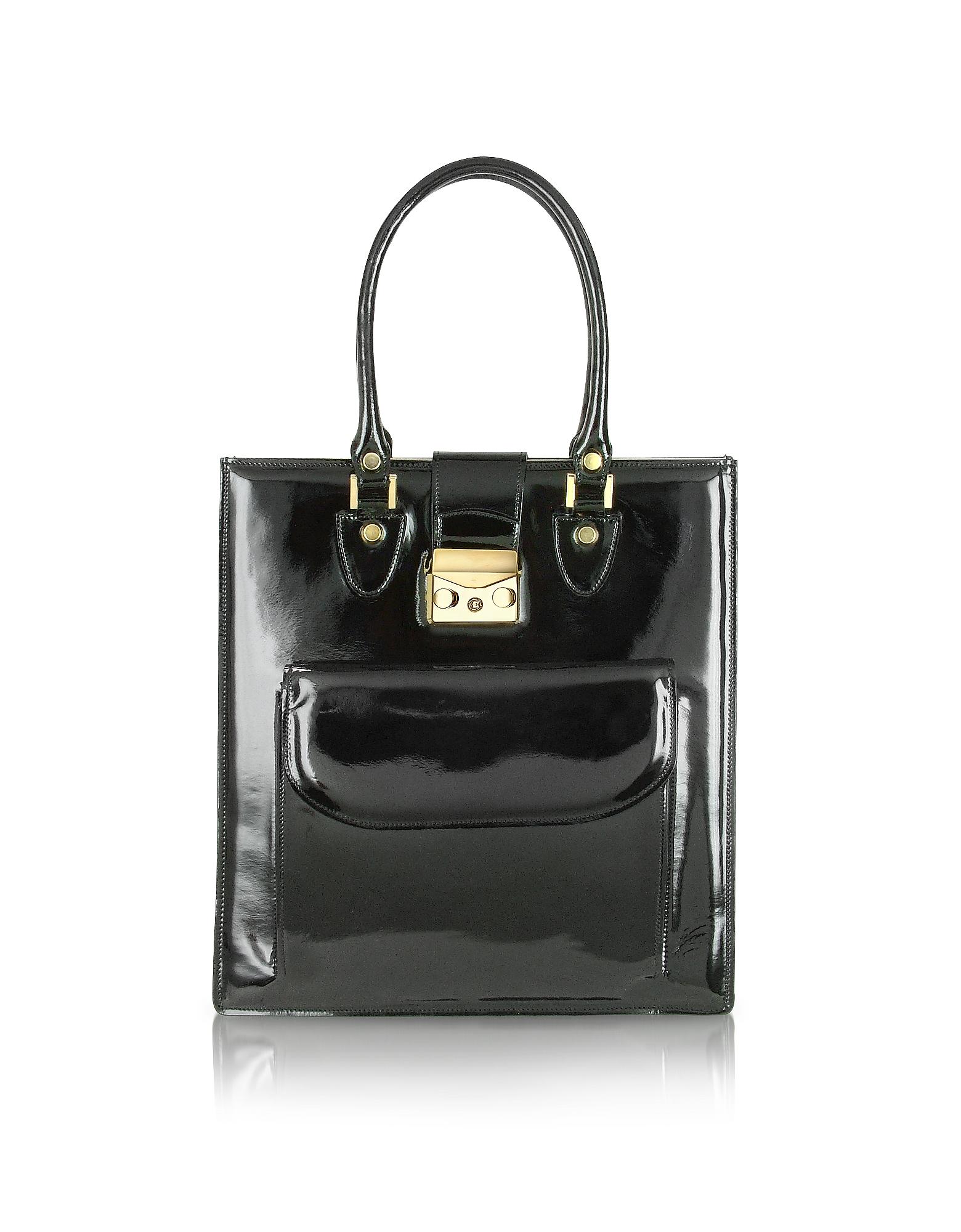L.A.P.A. Handbags, Black Patent Leather Tote Bag