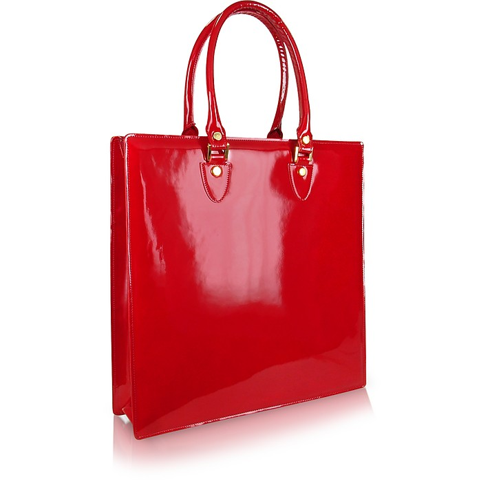 Red Valentino Pink nylon Red Valentino tote with gold-tone hardware, dual rolled top handles, black patent leather trim, dual zip pockets at sides, bow embellishments at front, pink twill lining and open top.