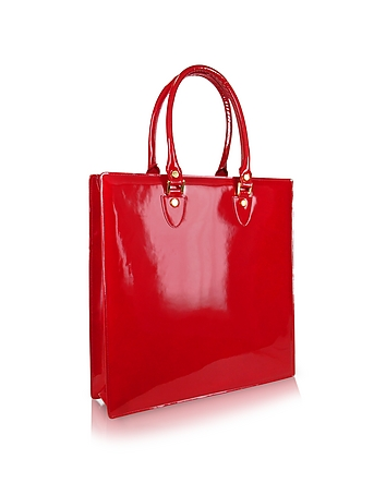 Ruby Red Patent Leather Tote Bag