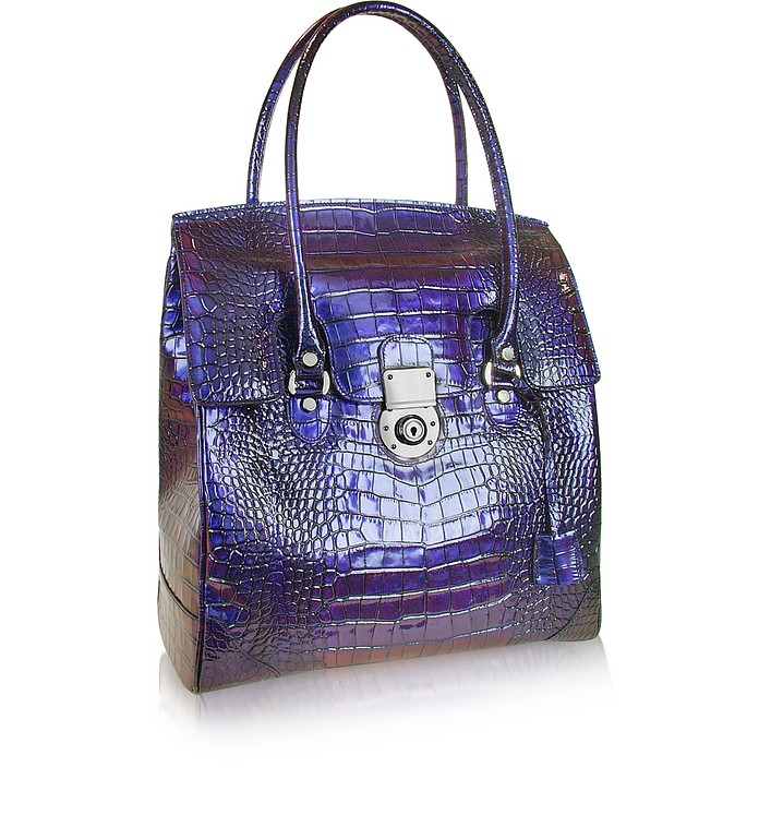 Croco Stamped Leather Flap Tote Bag - L.A.P.A.