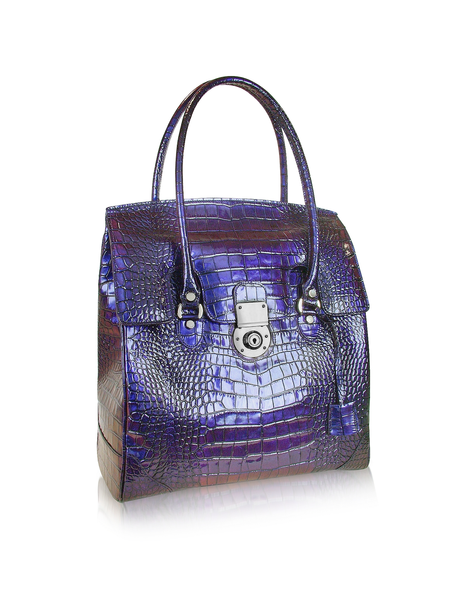 L.A.P.A. Handbags, Croco Stamped Leather Flap Tote Bag