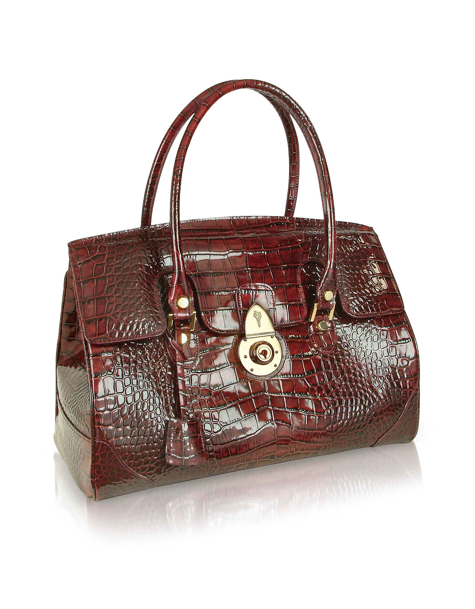 Ruby Red Croco Stamped Patent Leather Satchel Bag