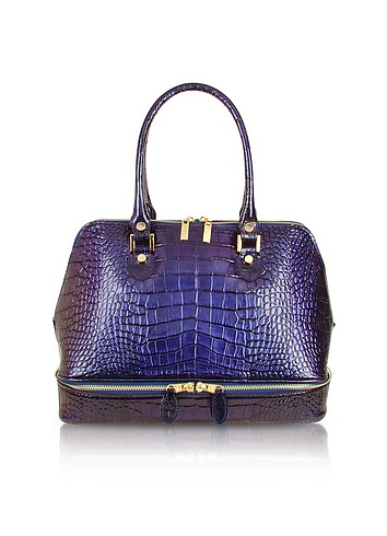 L.A.P.A. Violet Croco Patent Leather Bowling-style Bag