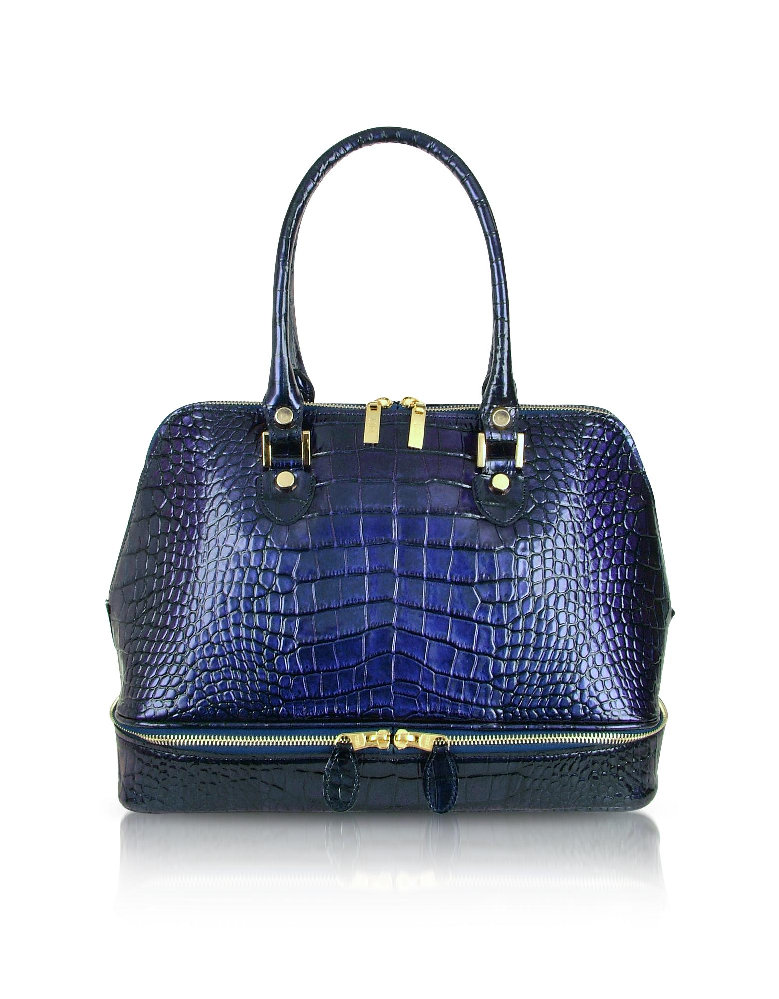Blue Croco Patent Leather Bowler Bag
