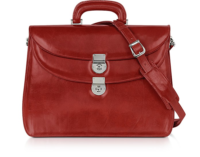 Women's Red Leather Briefcase - L.A.P.A.