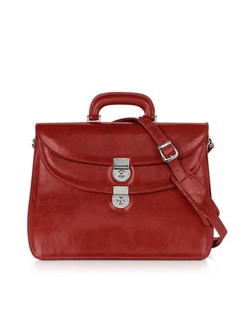 Women's Red Leather Briefcase