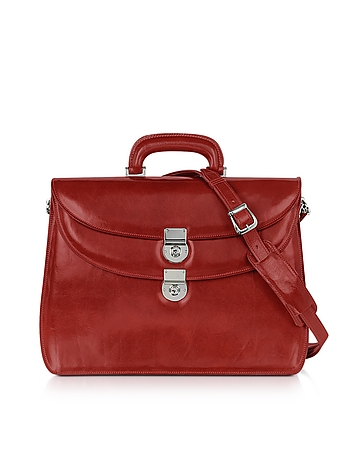 L.A.P.A. - Women's Red Leather Briefcase