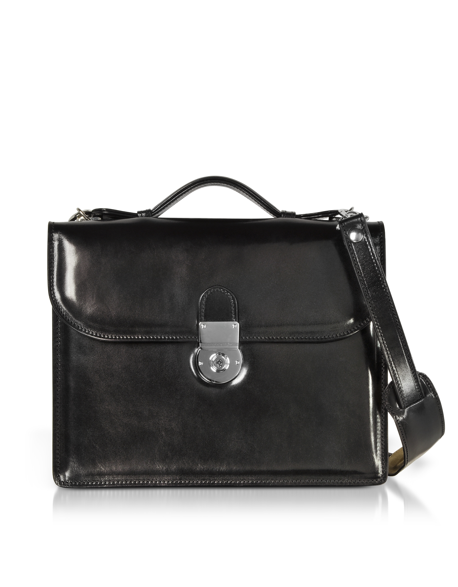 Image of L.A.P.A. Designer Briefcases, Classic Black Leather Briefcase