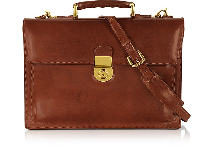 Classic Cognac Leather Briefcase - L.A.P.A.
