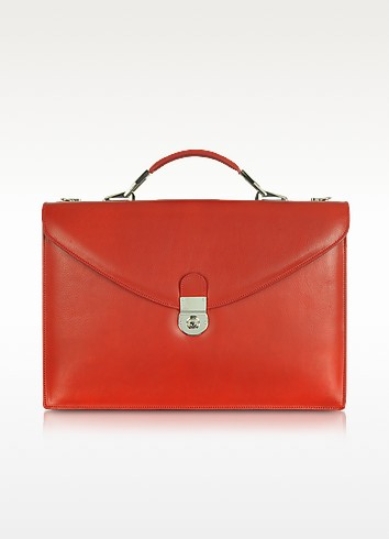 Ruby Red Double Gusset Leather Briefcase - L.A.P.A.