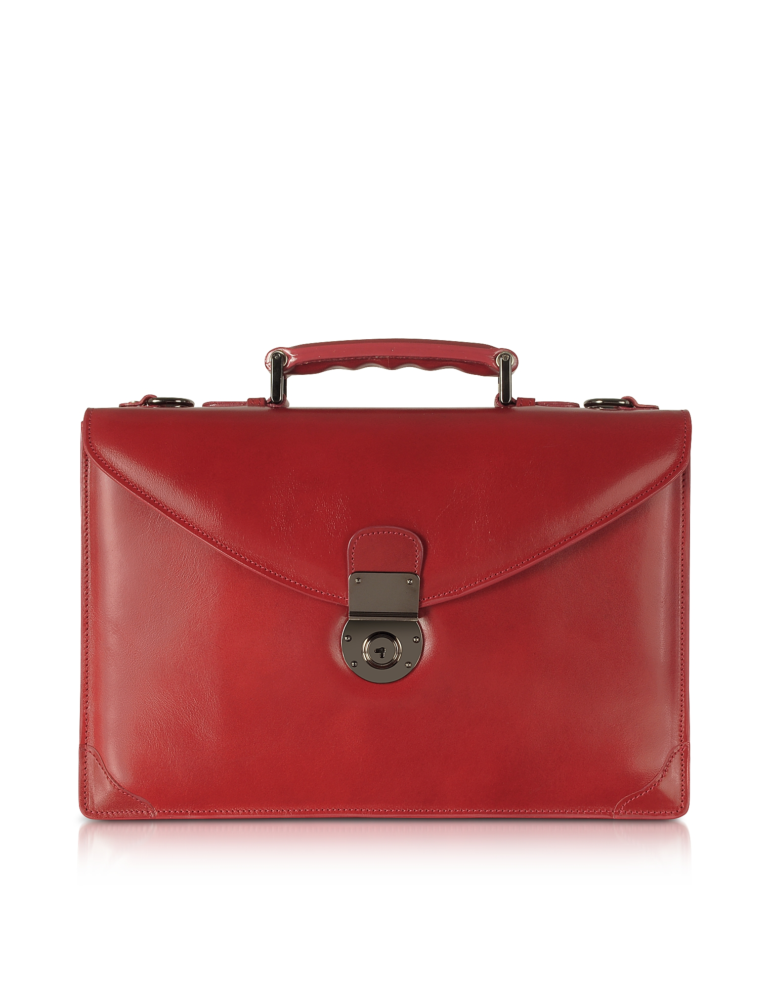Ruby Red Double Gusset Leather Briefcase