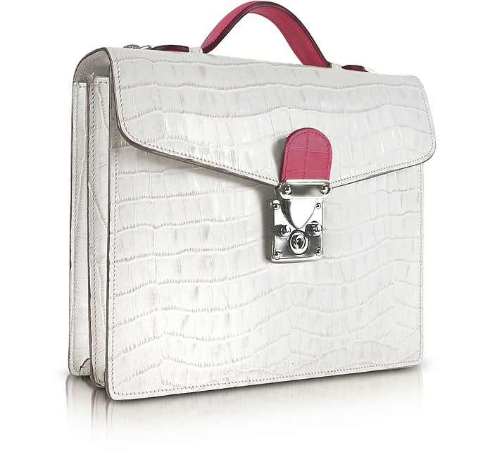 White & Fuchsia Croco-embossed Double Gusset Mini Briefcase - L.A.P.A.